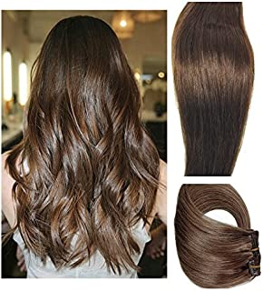 Myfashionhair Clip in Hair Extensions Real Human Hair Extensions 15 inches 70g Medium Brown Clip on for Fine Hair Full Head 7 pieces Silky Straight Weft Remy Hair (15 inches, #4)