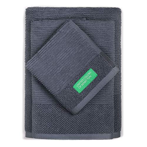 Set 3pcs Toallas de baño (30 x 50 + 50 x 90 + 70 x 140 cm) 450 gsm 100% algodón Gris Oscuro Casa Benetton
