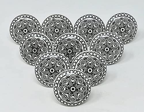 Ajuny Juego de 10 pomos de cerámica en blanco y negro para aparador, armario, armario de baño, cocina, hecho a mano