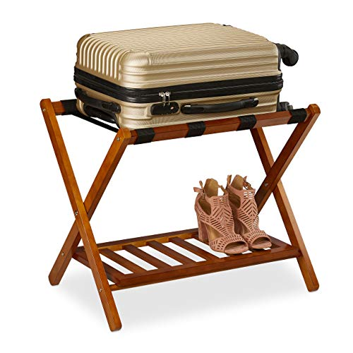 Relaxdays Soporte Plegable (54,5 x 66 x 44,5 cm, 2 estantes, para Almacenamiento de Maletas, Hotel), Color Natural, Naturaleza