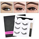 Ownest Magnetic Eyelashes Eyeliner Kit With Tweezers, 3 Pair Natural & reusable Fluffy Soft Eyelashes With Waterproof Magnetic Liquid Eyeliner Set-011