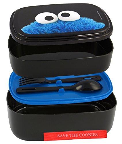 Sesamstraat Lunchbox Cookie Monster zwart, bedrukt, van kunststof, inclusief lepel en vork.
