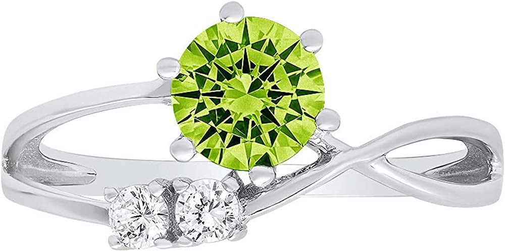 0.85 ct Round Cut 3 stone love Solitaire Genuine Flawless Natural Green Peridot Gemstone Engagement Promise Statement Anniversary Bridal Wedding Accent Ring Solid 18K White Gold