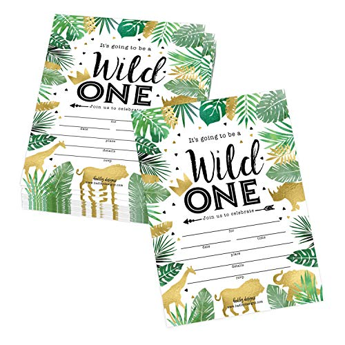 25 Jungle Safari Zoo, Elephant Animals Themed Kids Party Invitation, Crown Lion Tropical Invite, Forest Giraffe Wild One Bday, First Year Old Birthday Idea, Baby Card Supplies, Printable Template