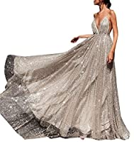 Keaac Womens Prom Dresses High Slit V Neck Sequins Tulle Long Evening Gowns Silver XXS