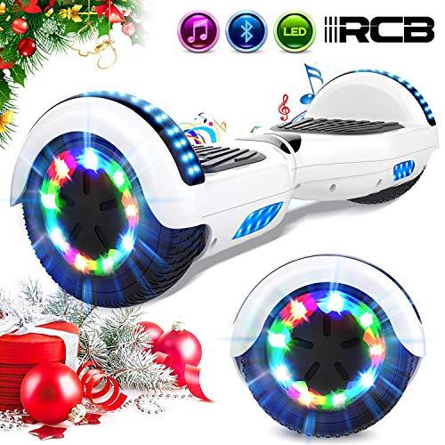 RCB Scooter Elettrico 6.5 inch con LED Bluetooth su ruote brillante Auto bilanciamento 6.5'' Lampeggianti Bluetooth per Adulti e Bambini