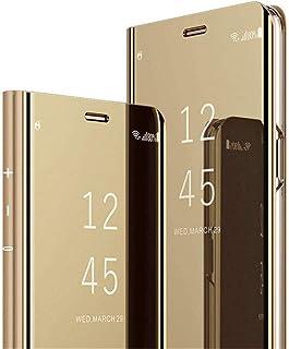 COTDINFOR iPhone XS Funda Espejo Ultra Slim Ligero Flip Funda Clear View Standing Cover Mirror PC + PU Cover Protectora Bumper Case para iPhone XS (5.8 Inch Gold Mirror PU MX.