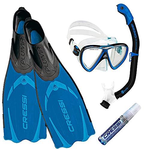 Kit de Mergulho Máscara+respirador+nadadeira Cressi Pluma Azul + Ikarus + Orion Dry + Anti Fog Sea Gold - 42-43