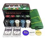 ALBBMY Set de Chips de póker 21 Punto Conjunto Caja de Hierro con 200 Chips Mantel Código y Poker Ajedrez Entertainment Casual Juego Casino Essentials Portátil Poker Tabla Top