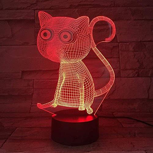 luz noche infantil luz 3d h Ey Catsd Halloween, Acción de Gracias, Navidad Los mejores regalos Carga USB táctil de 7 colores