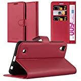 Cadorabo Funda Libro para LG X Power en Rojo CARMÍN - Cubierta Proteccíon con Cierre Magnético, Tarjetero y Función de Suporte - Etui Case Cover Carcasa