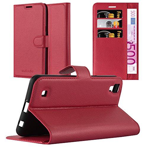 Cadorabo Hülle für LG X Power - Hülle in Karmin ROT – Handyhülle mit Kartenfach und Standfunktion - Case Cover Schutzhülle Etui Tasche Book Klapp Style