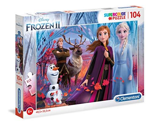 Clementoni 27274 Clementoni-27274-Supercolor Disney Frozen 2-104 Teile, Puzzle für Kinder, Mehrfarben