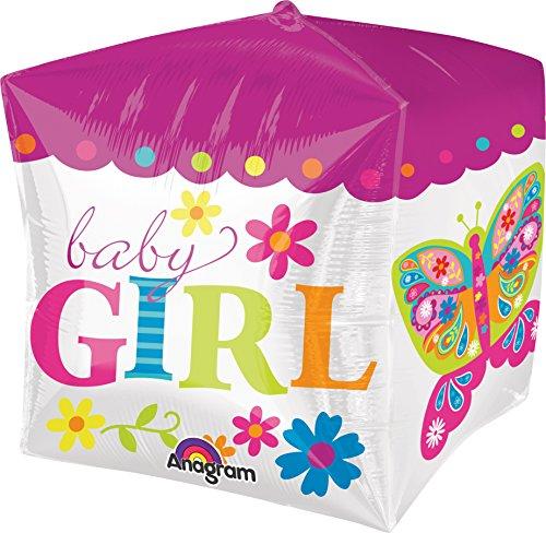 Vierkante folieballon * BABY GIRL * voor de geboorte van een meisje // Decoratie kind verjaardag ballon