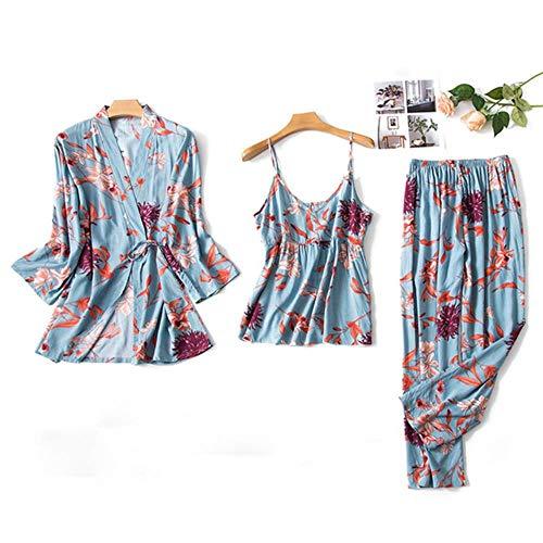 QVC Damen-Schlafanzug aus Satin, 3-teilig, sexy Spitze, bedruckt, lange Hose, Nachtwäsche, 3-teiliges Set Gr. XX-Large, blau