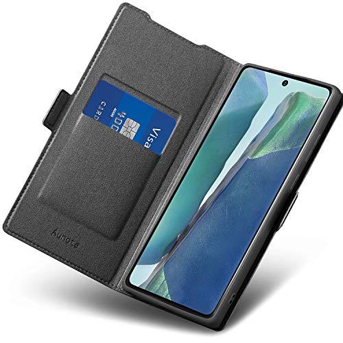 Aunote Samsung Note 20 Hülle, Handyhülle Samsung Galaxy Note 20, Samsung Note 20 Schutzhülle, Samsung Note 20 Tasche, Samsung Note 20 Klapphülle, Etui Flip Cover Hülle, Note 20 Hülle 4G/5G. Schwarz