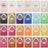 DEWEL 240g Naturale Pigmenti Coloranti, Mica Powder 10g*24 Colori Mica Polvere Colorante Polveri Perlato per DIY,Sapone, Slime,Candele, Acquerello, Cosmetici