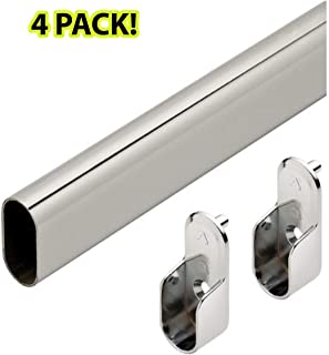 Hafele Premium Oval Wardrobe Closet Rod with End Supports (4 pack) - 48 inch - Chrome Closet Rod with Closet Rod Brackets