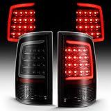 AmeriLite for 2009-2019 Dodge Ram 1500 / 10-19 Ram 2500 3500 Dark Black C-Type LED Tail Light Assembly Set [Do Not Fit] - Factory LED Version