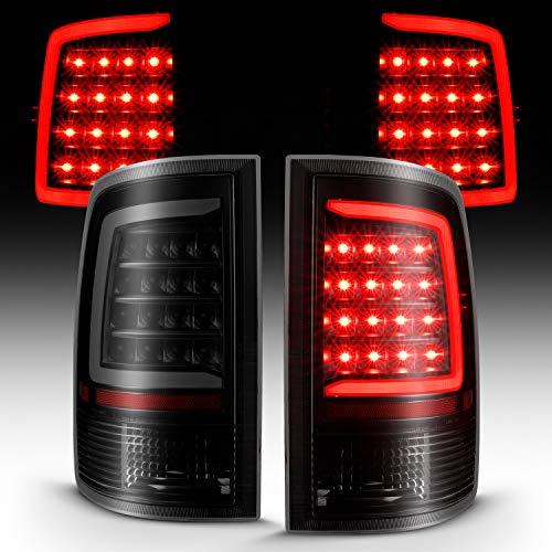 AmeriLite for 2009-2019 Dodge Ram 1500/10-19 Ram 2500 3500 Dark Black C-Type LED Tube Replacement Tail Light Assembly Set - Passenger and Driver Side