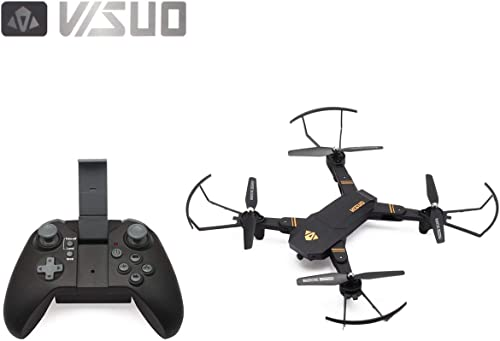 WOSOSYEYO VISUO XS809HW 2.4G Faltbarer FPV-Selfie-Drohne RC Quadcopter mit 720P Weißinkelkamera H nstand halten mit ZWeißatterien (Schwarz