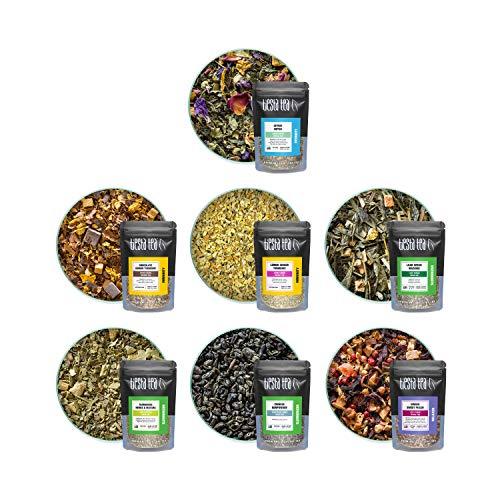 Tiesta Tea Detox Tea Sampler Dry Flight Set - High to No Caffeine, Hot & Iced Tea, Loose Leaf Tea Sample Set with Green, & Herbal Tea, Detox Tea for Weight Loss and Belly Fat, 7 Sample Pouches
