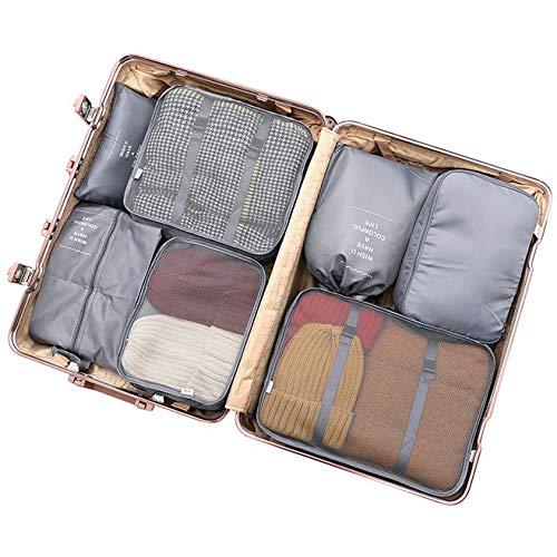 Bolsas de Viaje 8 En 1 FFlion Organizador de Equipaje Viaje (gris(gray))