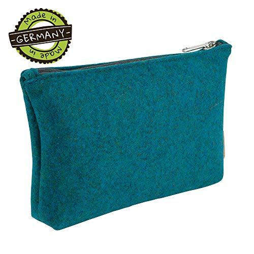 greenMAXX JETTE cosmetische PET-tas voor de handtas I make-uptas gemaakt van vilt met rits I make-uptas gemaakt van gerecycled PET-vilt I organizer make-uptas petrolkleuren