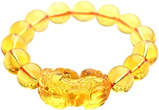 FengShuiGe Feng Shui 12mm Citrine Gem Stone Wealth Porsperity Bracelet with Pi Xiu/Pi Yao, Attract Wealth and Good Luck + Free Red String Bracelet