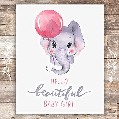 Girls Nursery Decor Art Print Unframed 8x10 Elephant Baby Girl product image