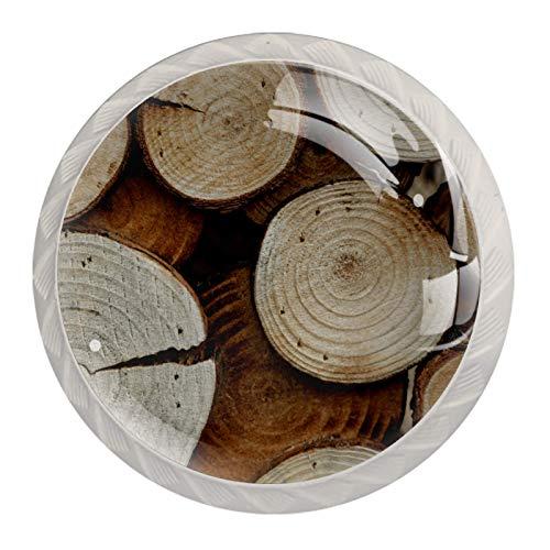 Juego de 4 pomos redondos de cristal de 30 mm para cajones y cajones, de madera