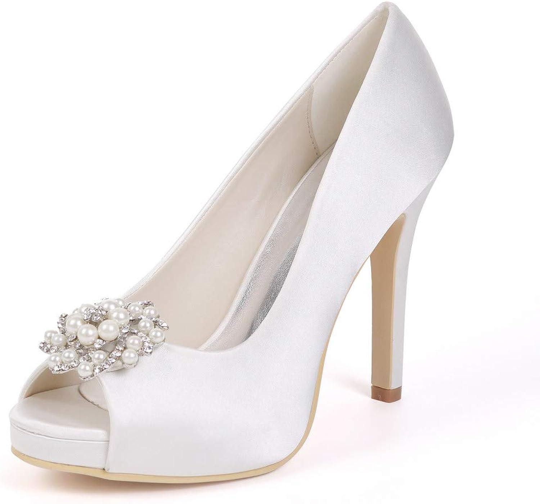 YUGUO High Heels New Women's shoes Luxury Evening shoes Rhinestone Wedding shoesFish Mouth High-Heeled Satin Wedding shoes Stiletto Sandals