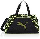 PUMA AT ESS Grip Bag Bolsa Deporte, Mujer, Black/Fizzy Yellow, OSFA