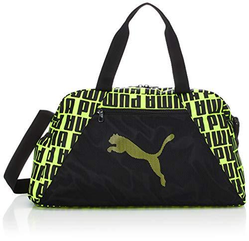 PUMA AT ESS Grip Bag Bolsa Deporte, Mujer, Puma Black/Fizzy Yellow, OSFA