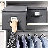SONGMICS 3 Stück faltbox mit Deckel Faltbare Aufbewahrungsbox Stoffbox 40x30x25cm (Grau) RFB03G - 6