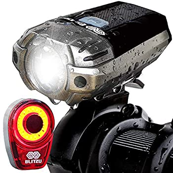 BLITZU Gator 390 USB Rechargeable LED Bike Light Set Bicycle Headlight Front & Free Rear Back Tail Light Waterproof Easy to Install for Kids Men Women Road Cycling Safety Commuter Flashlight Black
