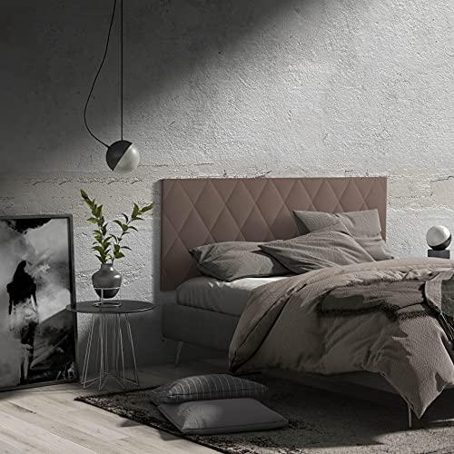 MOMMA HOME Cabecero de Cama en Polipiel - Modelo Calor- Cabecero tapizado en ecopiel - Cabecero Acolchado - Incluye herrajes para Colgar - Cabezal para Cama Dormitorio (Brown, 150 x 60 cm)