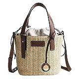 LABIUO Damen Umhängetasche,Fashion Stroh Umhängetasche Crossbody Einfach Verstellbarer Schultergurt Handtasche(Braun,Freie Größe)