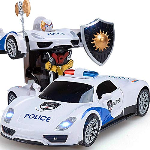 YLJYJ Poorssche Coche de policía One Touch Transform Traansformmers Coche de Control Remoto 1:14 Radio Control RC Eléctrico Recargable Drift (Coche Inteligente)