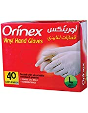 Orinex Vinyl Gloves Clear Large, 40 pieces