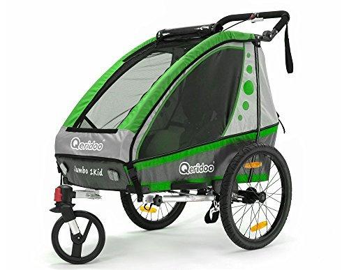 Jumbo-1 grün Fahrradanhänger Kinderanhänger Jogger ALUMINIUM Qeridoo Kinderfahrradanhänger Kinderwagen UVP 419.- by Qeridoo