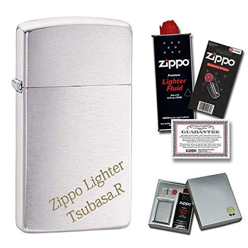 名入れ 彫刻 ZIPPO ライター 消耗品付き(オイル&替え石) ギフトセット #1600 スリムタイプ クロムメッキ 永久保証 (書体:明朝体, 加工位置:ななめ)