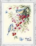 Magic Needle 130-021 - Schema punto croce contato, motivo fiori e ciliegie, in cotone, multicolore, 25 x 35 cm