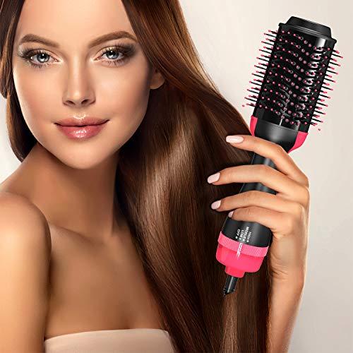 Blow Brush, Blow Dry Brush, Drying Hair Brush, Hair Dryer Hot Brush, Salon Grade Hair Styling Blow Dryer, Volumizer, and Hair Straightener - Ergonomic Volumizing Hot Air Dry Brush for All Hair Types