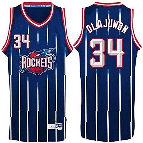 WSUN Camisetas De Baloncesto NBA - Hakeem Olajuwon Camiseta NBA para Hombre 34# Camiseta Deportiva De Baloncesto Sin Mangas Transpirable De Ocio De Houston Rockets,A,L(175~180CM/75~85KG)
