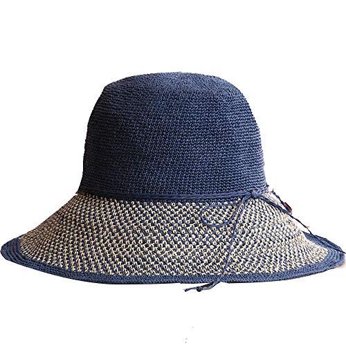 ZJWP Strohhut Damen Sommer Strandhut Damen Seaside Sonnenhut Fischerhut Sonnencreme Faltbar Cooler Hut Sonnenhut Für Den Ausflug Marine