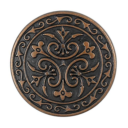 Bezelry 12 Pieces Celtic Flowers Metal Shank Buttons. 23mm (7/8 inch) (Antique Copper)