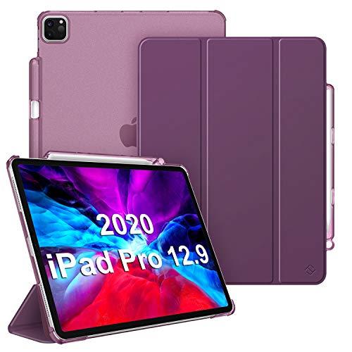 Fintie Hülle für iPad Pro 12.9 Zoll 2020 und 2018 (Unterstützt 2. Gen Pencil, kabelloser Ladefunktion) - Superdünn Schutzhülle mit Transparenter Rückseite Abdeckung, Auto Sleep/Wake, Lila