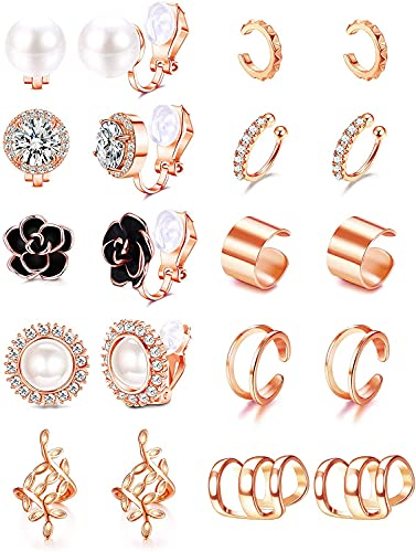 Milacolato 10 Pairs Ear Cuff Earrings Clip On Earrings Set for Women