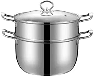DGDHSIKG Olla de sopa Olla de sopa de acero inoxidable olla pequeña sartén binaural olla de leche olla de gas cocina de inducción utensilios de cocina especiales, 30 cm de doble capa